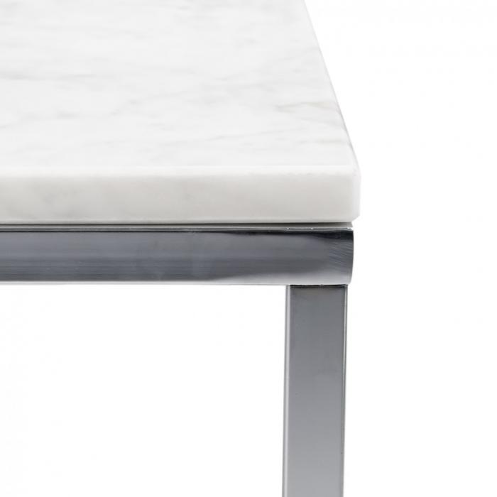 Rechteckiger Couchtisch Tischplatte Aus Weißem Marmor Füße Aus Chrom