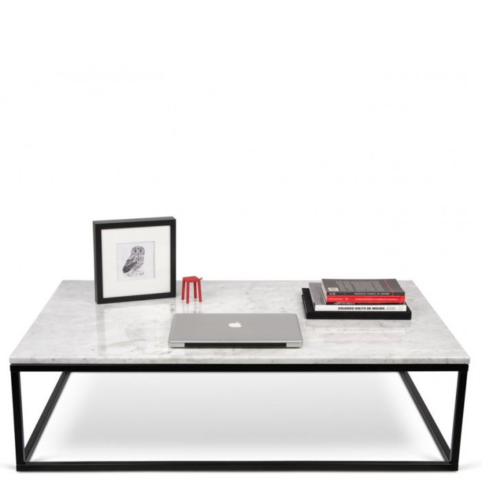 Rechteckiger Couchtisch Tischplatte Aus Weissem Marmor Fusse Aus Metall Schwarz