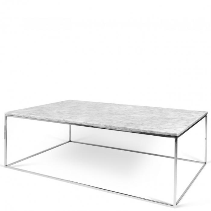 Zarter Rechteckiger Couchtisch Tischplatte Aus Weissem Marmor Fusse Aus Chrom