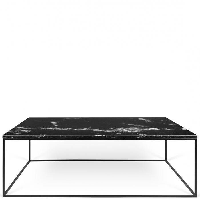 Zarter Rechteckiger Couchtisch Tischplatte Aus Schwarzem Marmor