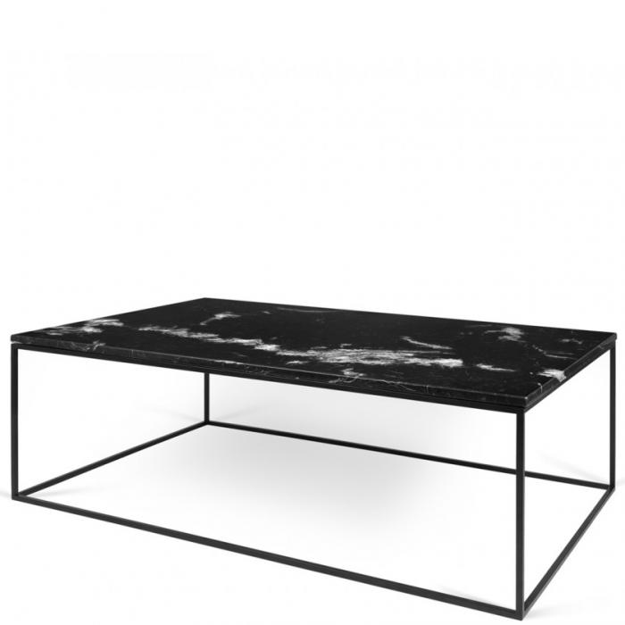 Zarter Rechteckiger Couchtisch Tischplatte Aus Schwarzem Marmor Fusse Aus Metall Schwarz