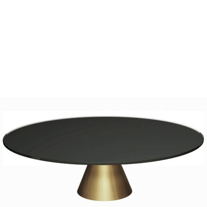Runder Couchtisch Aus Schwarzer Glasplatte Auf Goldenem Konisch