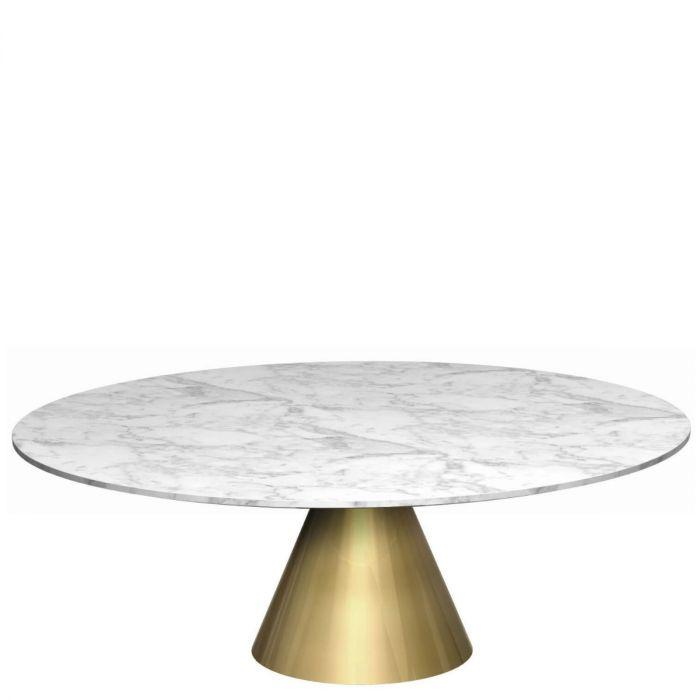 runder Couchtisch aus weißer Marmorplatte auf goldenem, konisch ...