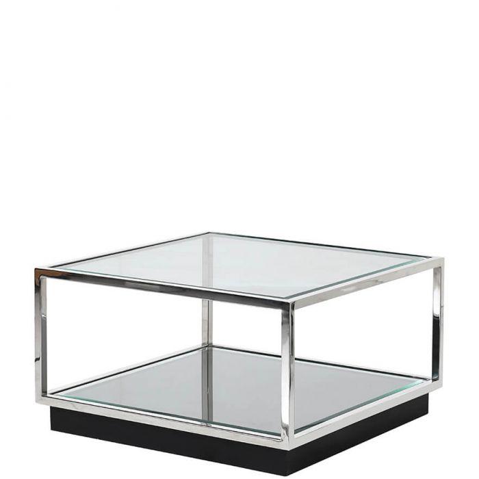 Quadratischer Couchtisch Aus Klarem Und Verspiegeltem Glas Element