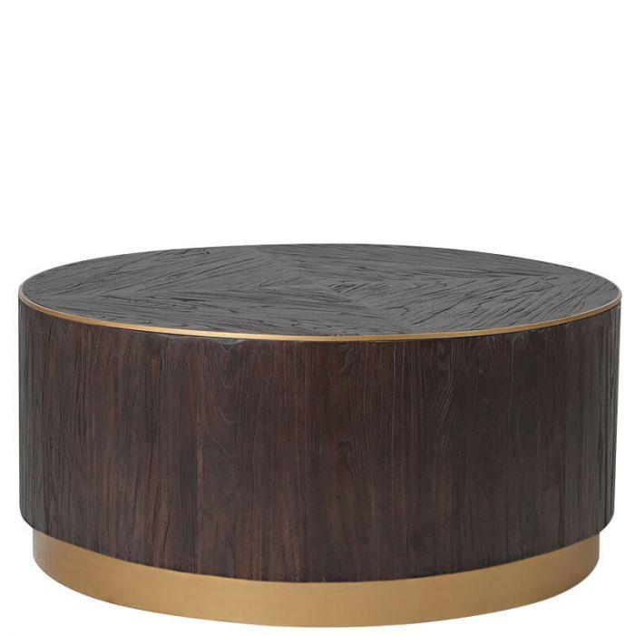 Moderner Runder Couchtisch Aus Dunklem Massivem Holz Mit Zartem Goldenen Metallrand