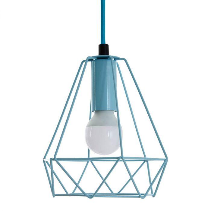 türkise Pendelleuchte mit geometrischem Metallrahmen, türkis, blau, retro, Deckenleuchte