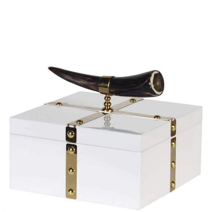 moderne Box mit goldenem Rahmen und Horn-Griff, weiß