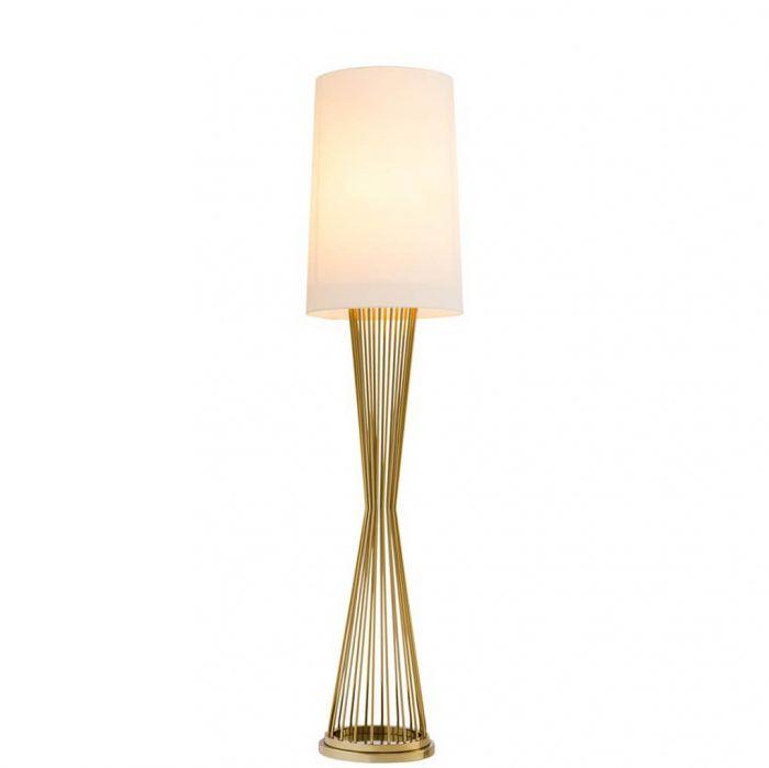 Feine goldene Stehlampe mit weißem Schirm von Eichholtz