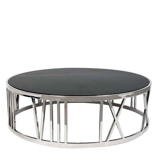 Runder Tisch Aus Schwarzem Marmor Mit Staehlernem Rahmen Von Eichholtz