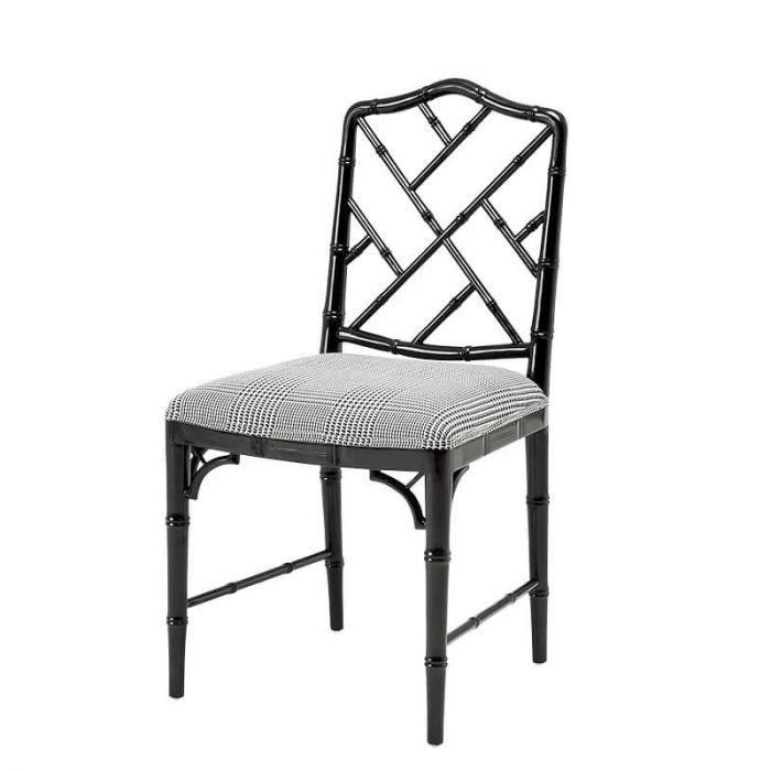 Sessel Aus Lackiertem Holz Und Schwarz Weiß Karierter Polsterung Von