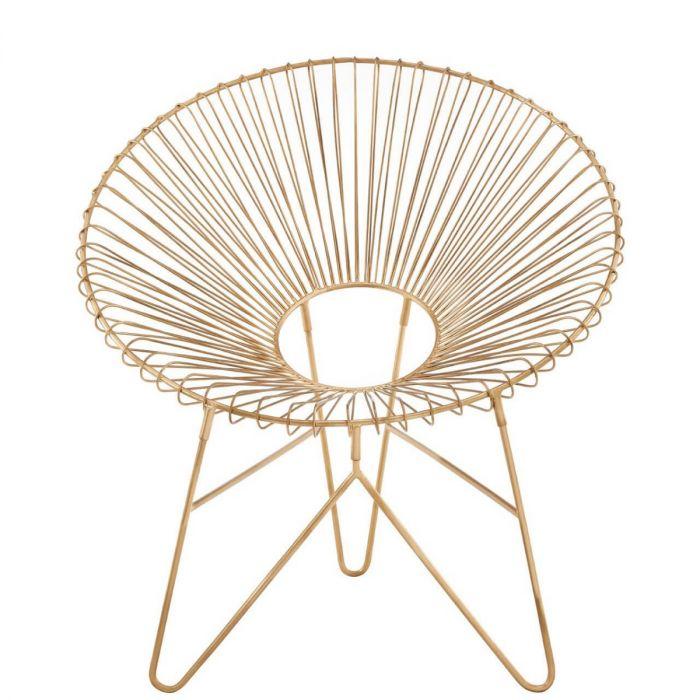 Trendiger Matt Goldener Sessel Aus Metall Moderner Gerundeter Stuhl Gold