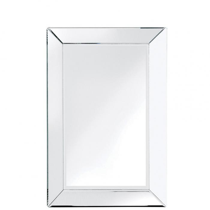 Eckiger Wandspiegel Mit Breitem Spiegelrahmen Mit Facettenschliff