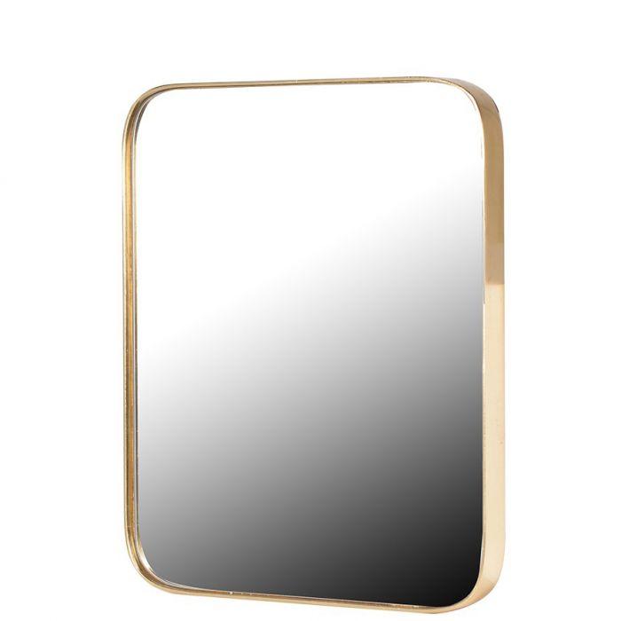abgerundeter Wandspiegel mit zartem, goldenen Rahmen