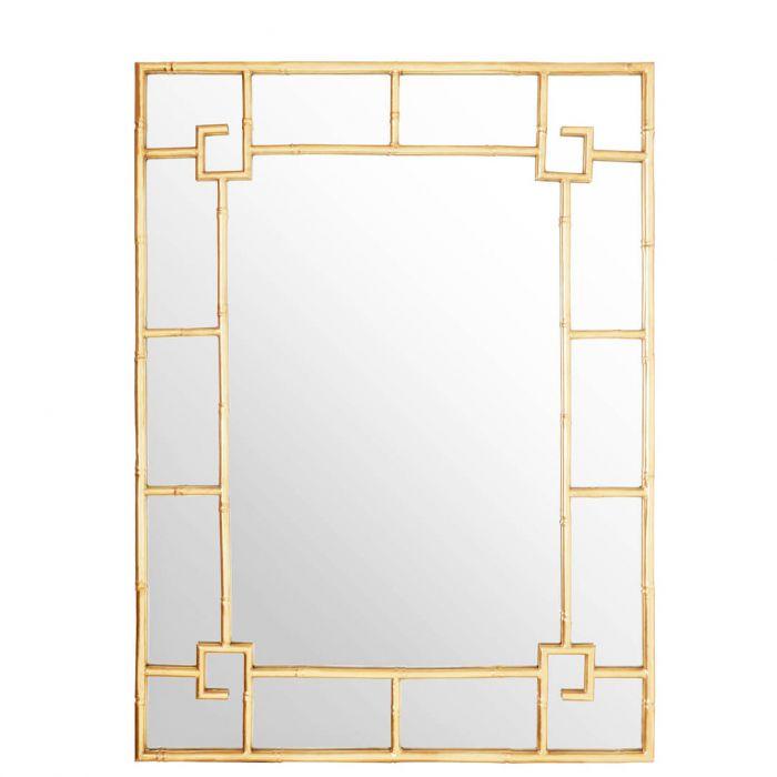 rechteckiger Wandspiegel mit geometrisch geformtem, goldenem Rahmen ...
