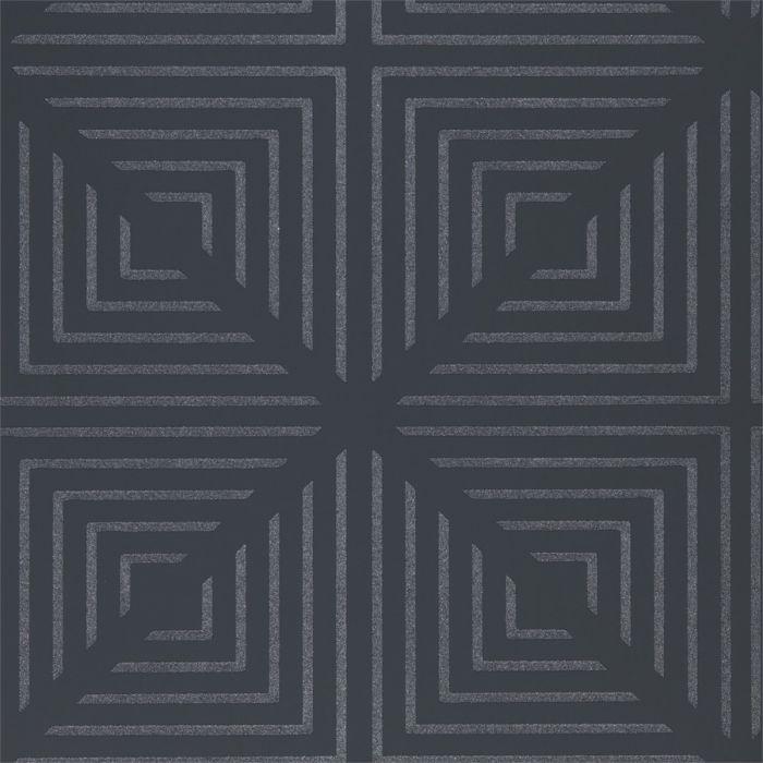 geometrische Tapete in edlem Graphit/Silber
