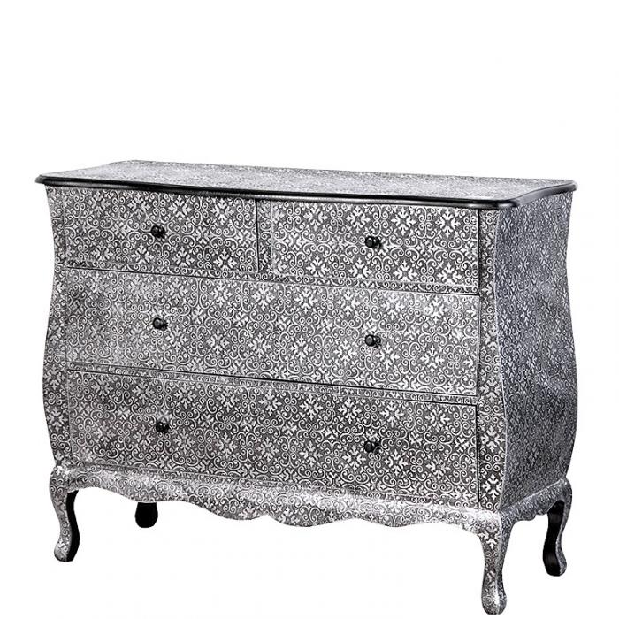 Grosse Orientalische Kommode Oriental Silber Schwarz