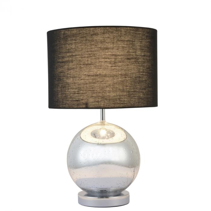 Tischleuchte Mit Glaskugel Fuss Und Braunem Lampenschirm