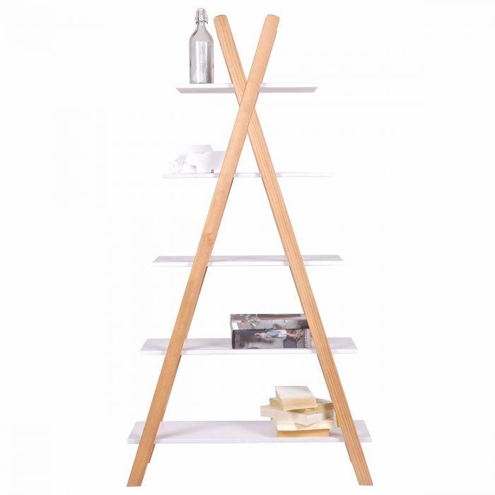 TIpi Bücherregal aus weißen und braunen Kiefernholz
