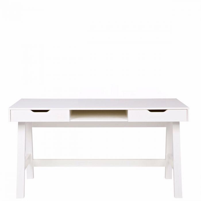 Schreibtisch aus Kiefernholz mit Schubladen, weiß