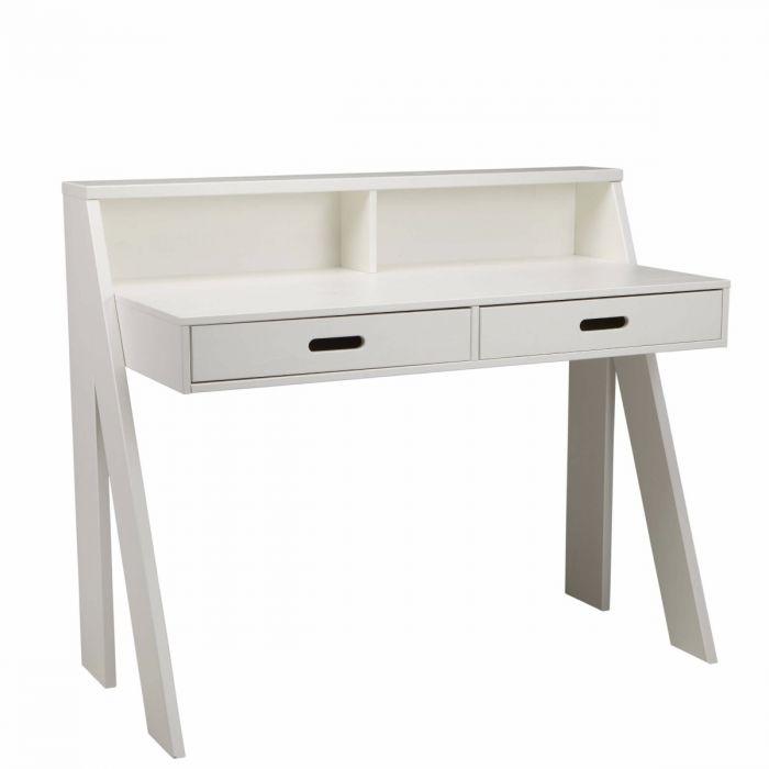 weißer Schreibtisch mit zwei Schubladen, Ablagefläche aus Kiefernholz