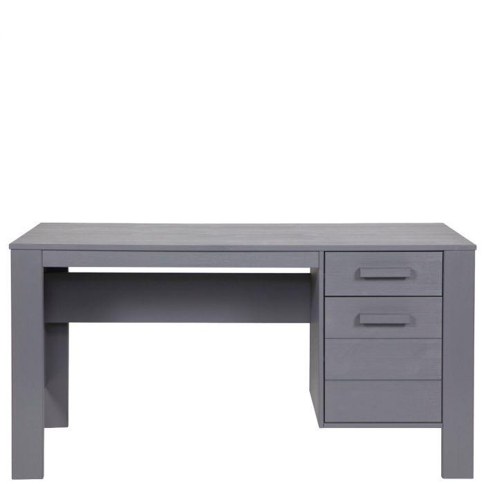 Moderner Schreibtisch Mit Zwei Schubladen Aus Kiefernholz Stahlgrau