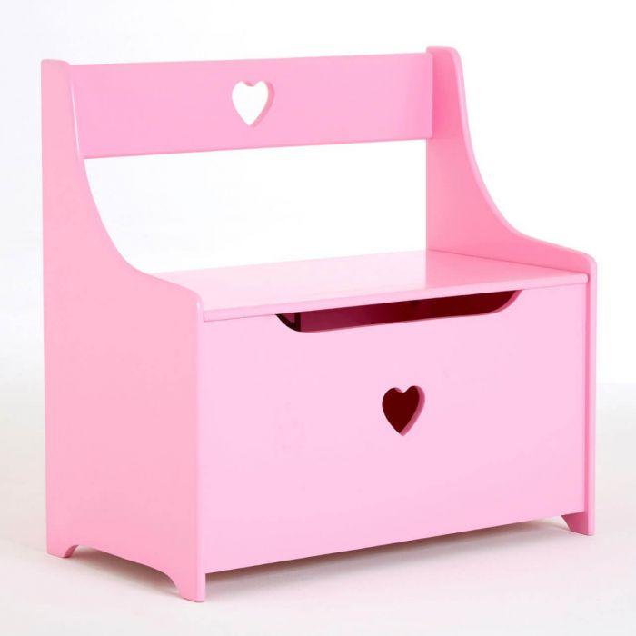 Spieltruhe mit Herzmotiv, kleine Sitzbank für Kinder mit Stauraum,  Spielzeugtruhe rosa