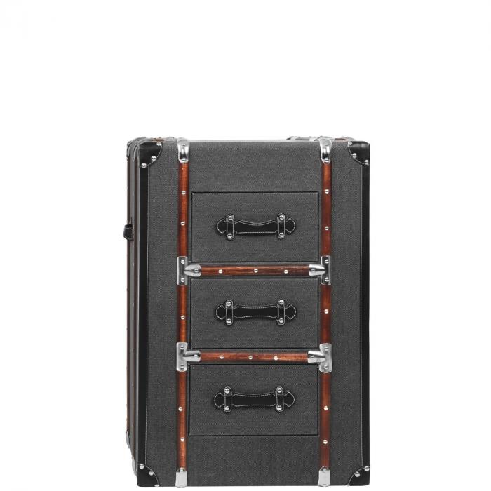 Kleine Kofferkommode Koffer Nachtkastchen Mit Grauem Stoffbezug