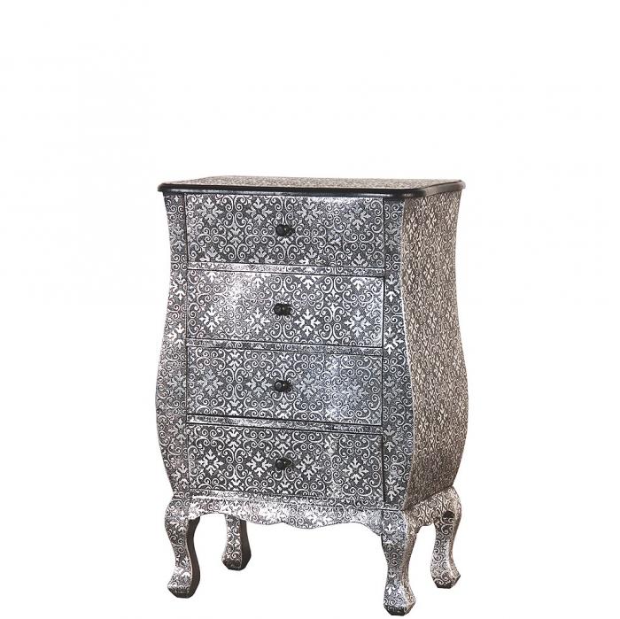 Kleine Orientalische Kommode Oder Nachtkastchen Silber Schwarz