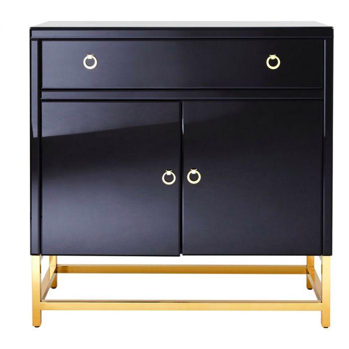 Moderne Kommode Mit Schwarzem Glas Und Goldenen Fussen
