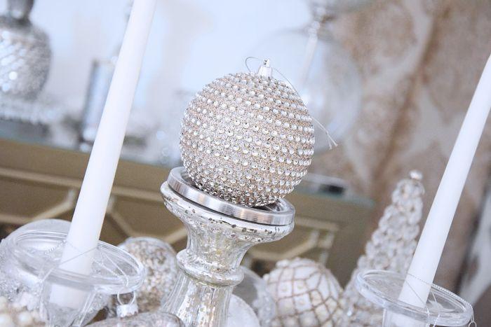 Kerzenständer aus glas in antik optik silber l