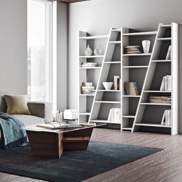 großes modernes asymmetrisches Regal, Bücherregal weiß
