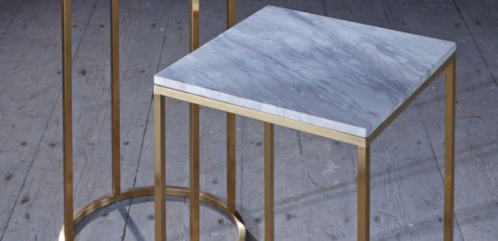 Moderner Runder Couchtisch Mit Marmorfinish Weiss Gold