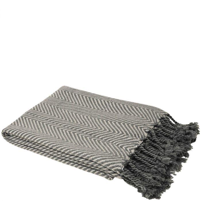 Elegante Decke Mit Chevron Muster Fransen Anthrazit