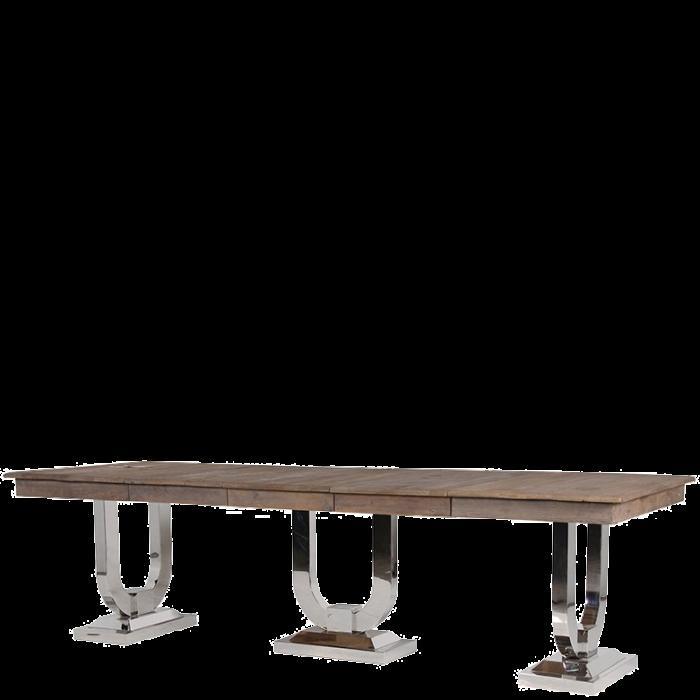 Ausziehbarer Esstisch Mit Groben Vollholz Tischplatten Und Massiven