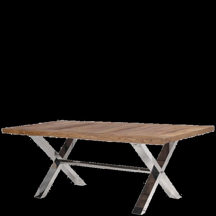 Moderner Esstisch Mit Chromfüßen Vollholz Tischplatte