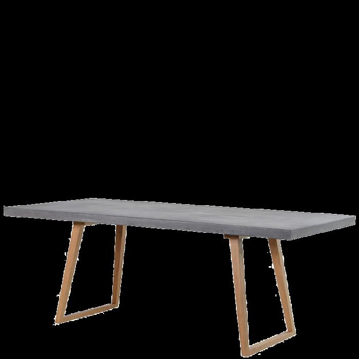 Zarter Esstisch In Beton Optik Mit Holzfüßen Im Retro Style