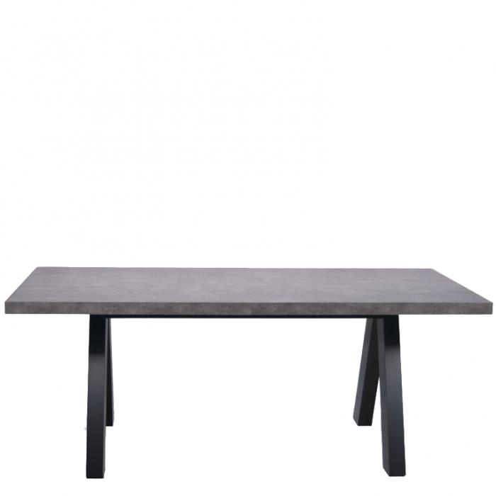 Moderner Ausziehbarer Esstisch In Beton Optik Mit Schwarzen Holzfüßen