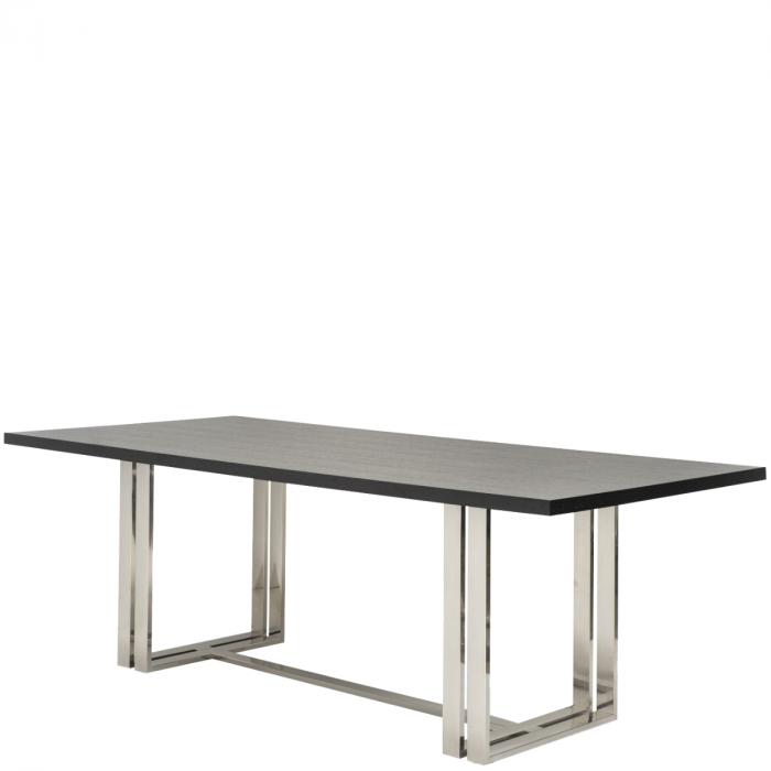 Moderner Esstisch Mit Chromfüßen Und Massiver Wenge Furnierter