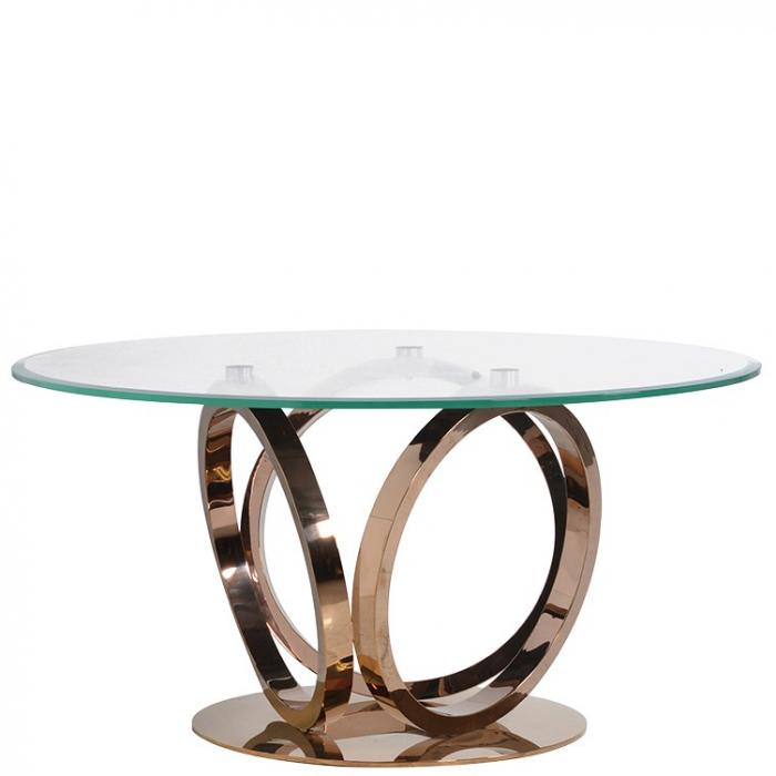 edler, runder Esstisch mit Glasplatte und geschwungenen Metallbeinen ...