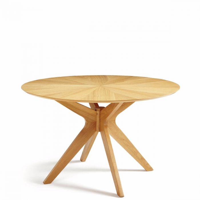 Schlichter Runder Holz Esstisch Eiche Furniert