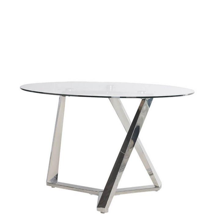 moderner Esstisch mit Glasplatte und schrägen Metallbeinen