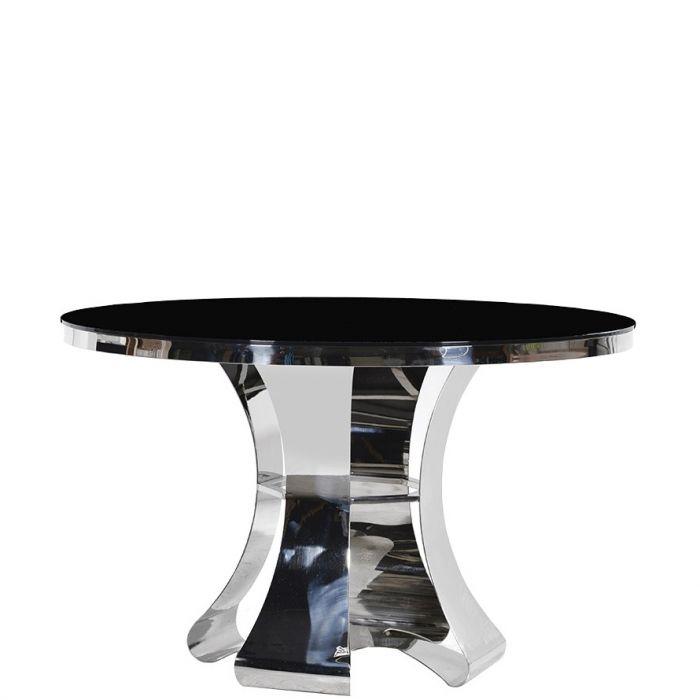 Moderner Runder Esstisch Aus Chrom Mit Dunkler Oberfläche