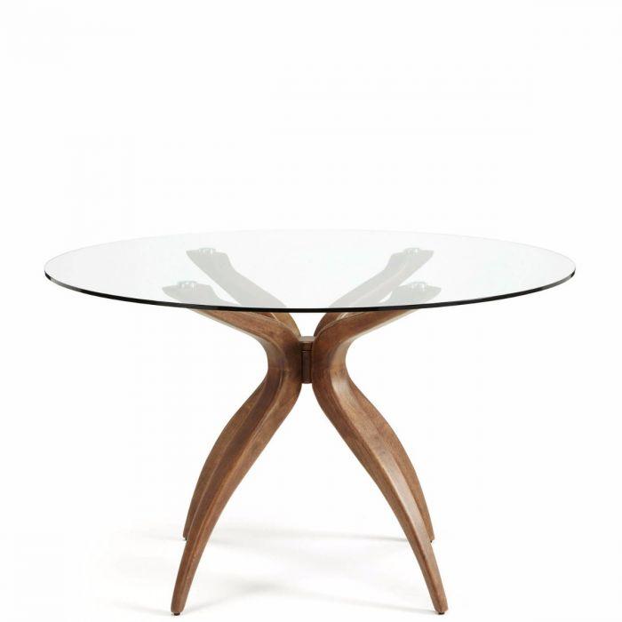 Esstisch nussbaum glas  zarter, moderner Esstisch mit runder Glasplatte, Tischbeine Nussbaum  furniert