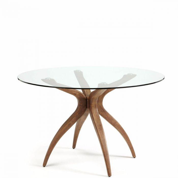 Bekannt zarter, moderner Esstisch mit runder Glasplatte, Tischbeine OZ56