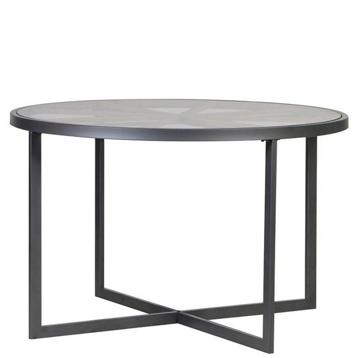 Runder Esstisch Mit Metallgestell Und Glasplatte