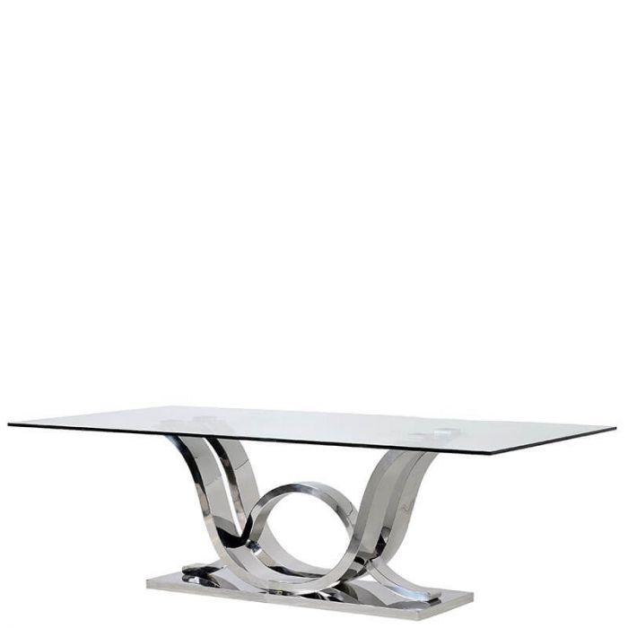 rechteckiger Esstisch aus klarem Glas auf geschwungenem Chrom Fuß