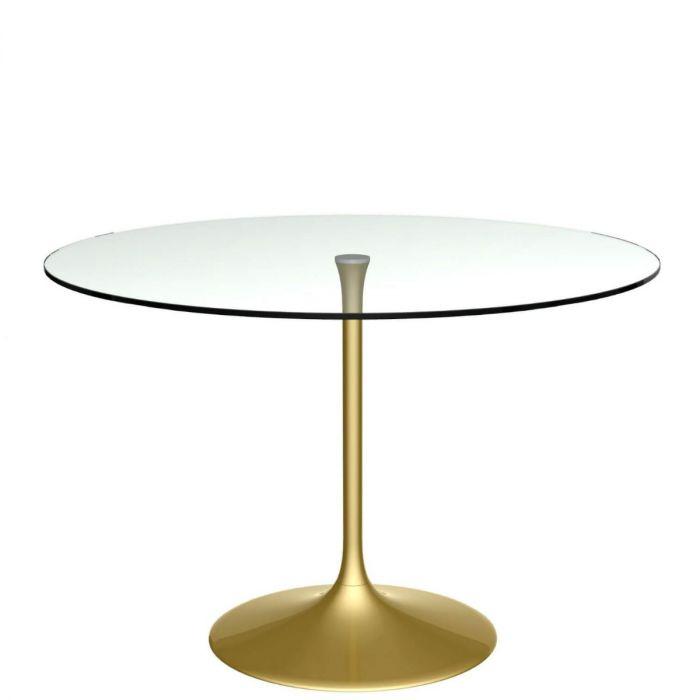 Moderner Runder Esstisch Aus Klarer Glasplatte Und Messing Fuss In Gold