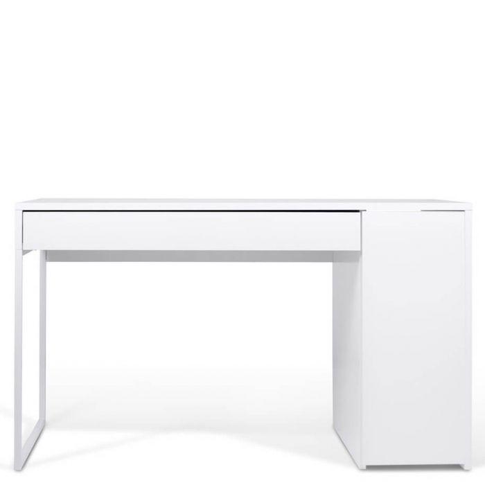 Eckschreibtisch weiß matt  klassischer weißer Schreibtisch mit Lade und kleinem Schrank, matt weiß