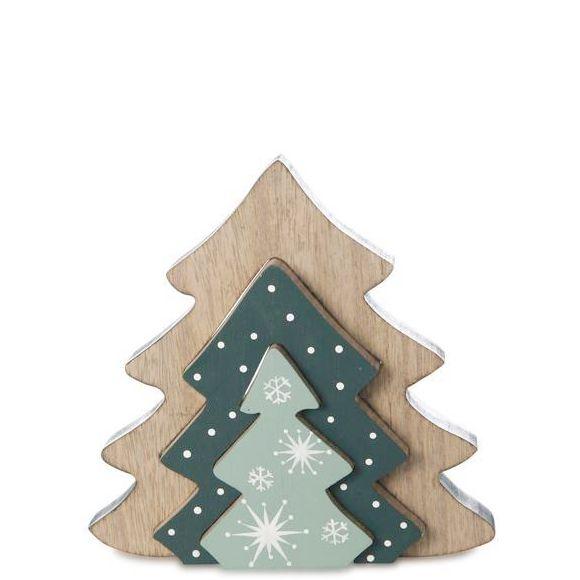 Tannenbaum Muster.Dreiteiliger Weihnachtlicher Dekoaufsteller Aus Holz In Tannenbaum Form Mit Schneeflocken Muster