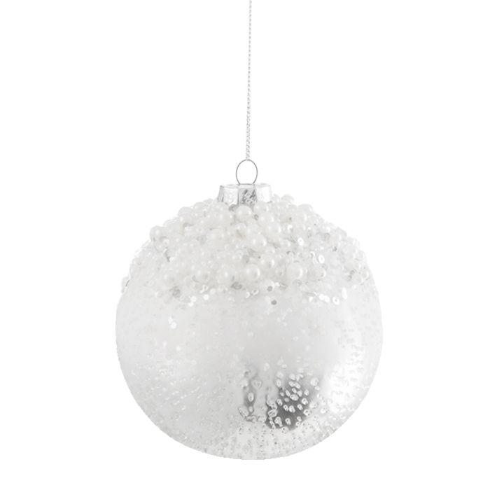 weiß-silber schimmernde Weihnachtskugel mit perlenförmigen Kugeln ...